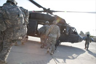 Catching a ride in a blackhawk