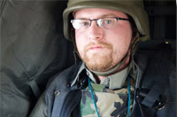 Jon Vidar in a blackhawk in Iraq