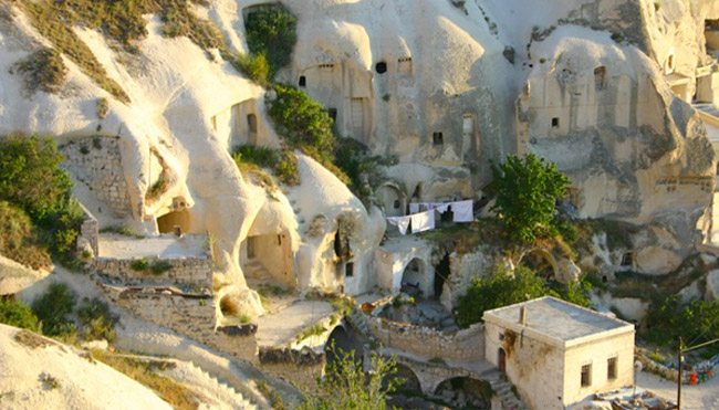 A view of the cave dwellings in Cappadocia, Turkey