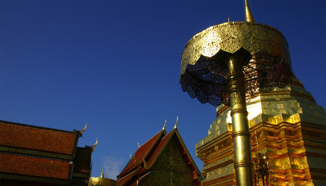 A view of a temple in Chang Mai, Thailand