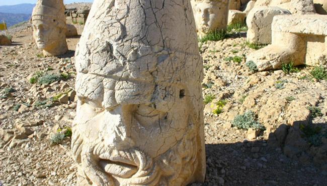 A statue's head in Nemrut Dagi, Turkey