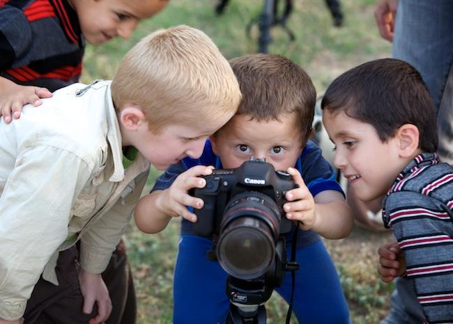 Kids take over Grant's camera in Erbil, Iraq