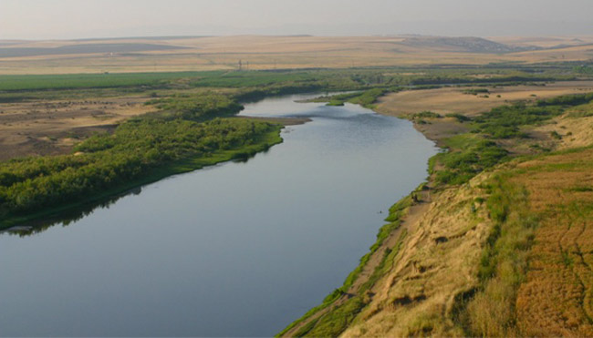 A view of the Tigris River as seen from the Kenan Tepe excavation near Diyarbakir, Turkey