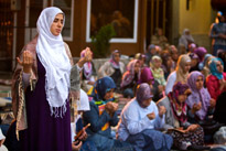 Women pray at the Eyup Mosque in Istanbul, Turkey