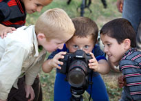 Kids take over Grant's camera in Erbil, Iraq