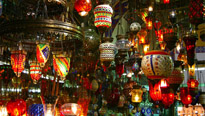 Colorful lamps hang in the Grand Bazaar in Istanbul, Turkey