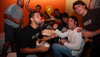 People party on New Year's Eve at a hostel in Montivideo, Uruguay