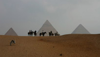 A view of the pyramids in Cairo, Egypt