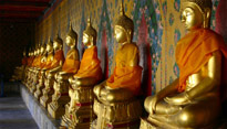 Statues of Buddha in a Bangkok temple